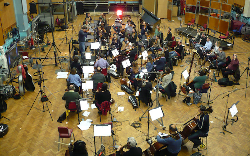 Guy Farley conducting the scoring sessions of Secret Sharer at Abbey Road