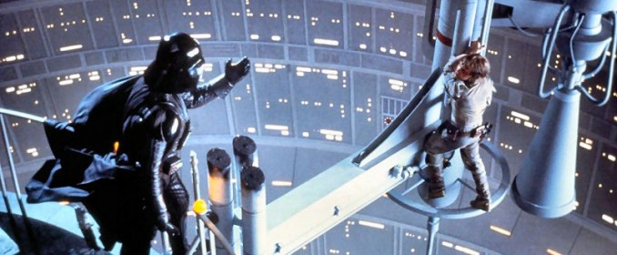 Luke Skywalker face à Darth Vader