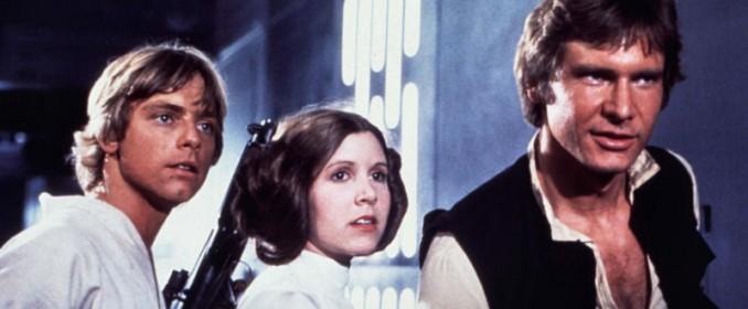 Luke Skywalker (Mark Hamill), Leia Organa (Carrie Fisher) et Han Solo (Harrison Ford) dans Star Wars: A New Hope