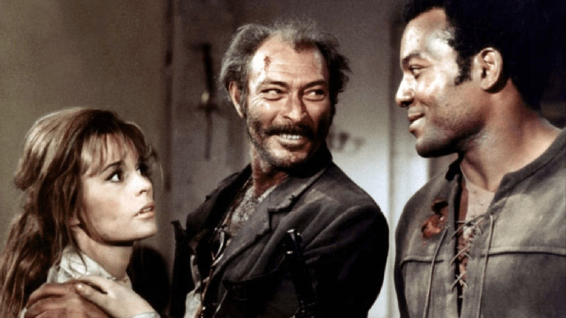Marianna Hill, Lee Van Cleef et Jim Brown dans El Condor