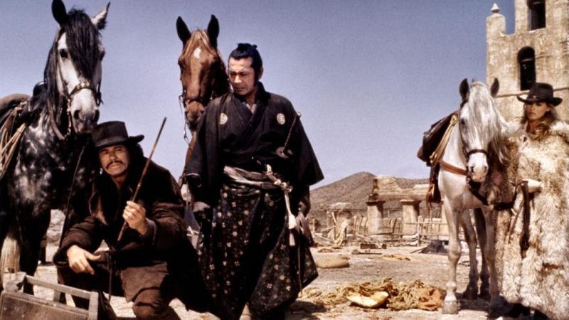 Alain Delon, Toshiro Mifune et Ursula Andress dans Red Sun