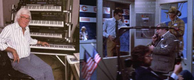 Caméo de Goldsmith (en haut à droite) et Steven Spielberg (en bas) dans le Gremlins de Joe Dante