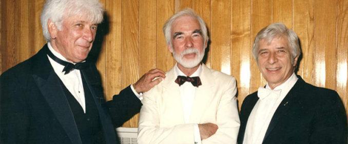 Jerry Goldsmith avec John Scott (au centre) et Elmer Bernstein (à droite)