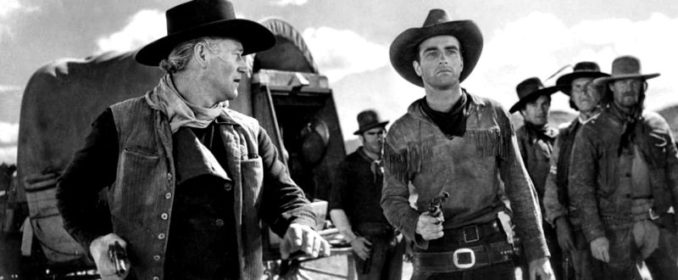 John Wayne et Montgomery Clift dans Red River