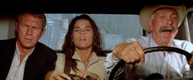 Steve McQueen, Ali MacGraw et Slim Pickens dans The Getaway